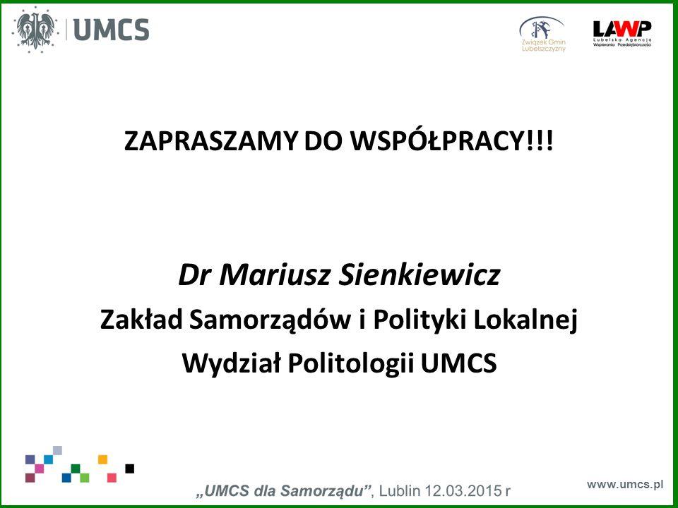 www.umcs.pl ZAPRASZAMY DO WSPÓŁPRACY!!.