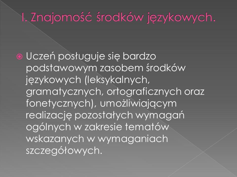  Uczeń posługuje się bardzo podstawowym zasobem środków językowych (leksykalnych, gramatycznych, ortograficznych oraz fonetycznych), umożliwiającym r