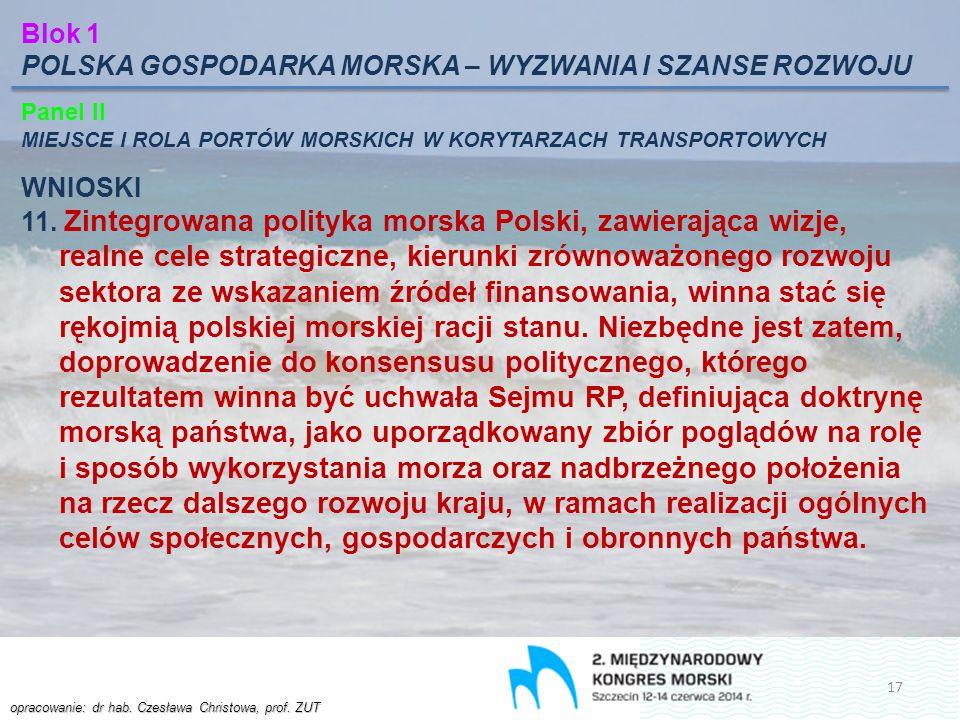 opracowanie: dr hab. Czesława Christowa, prof. ZUT Blok 1 POLSKA GOSPODARKA MORSKA – WYZWANIA I SZANSE ROZWOJU Panel II MIEJSCE I ROLA PORTÓW MORSKICH