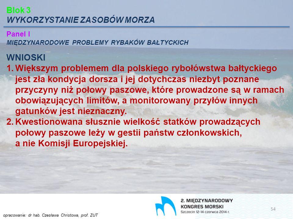 opracowanie: dr hab. Czesława Christowa, prof. ZUT Blok 3 WYKORZYSTANIE ZASOBÓW MORZA Panel I MIĘDZYNARODOWE PROBLEMY RYBAKÓW BAŁTYCKICH WNIOSKI 1.Wię