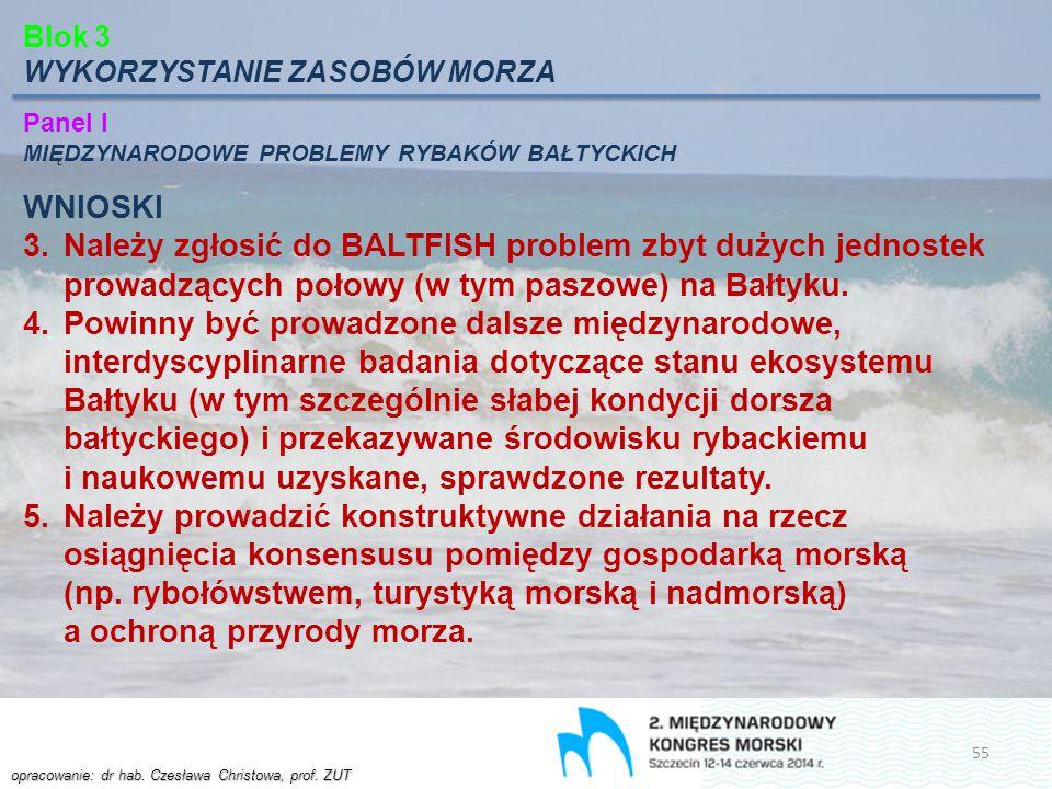 opracowanie: dr hab. Czesława Christowa, prof. ZUT Blok 3 WYKORZYSTANIE ZASOBÓW MORZA Panel I MIĘDZYNARODOWE PROBLEMY RYBAKÓW BAŁTYCKICH WNIOSKI 3.Nal