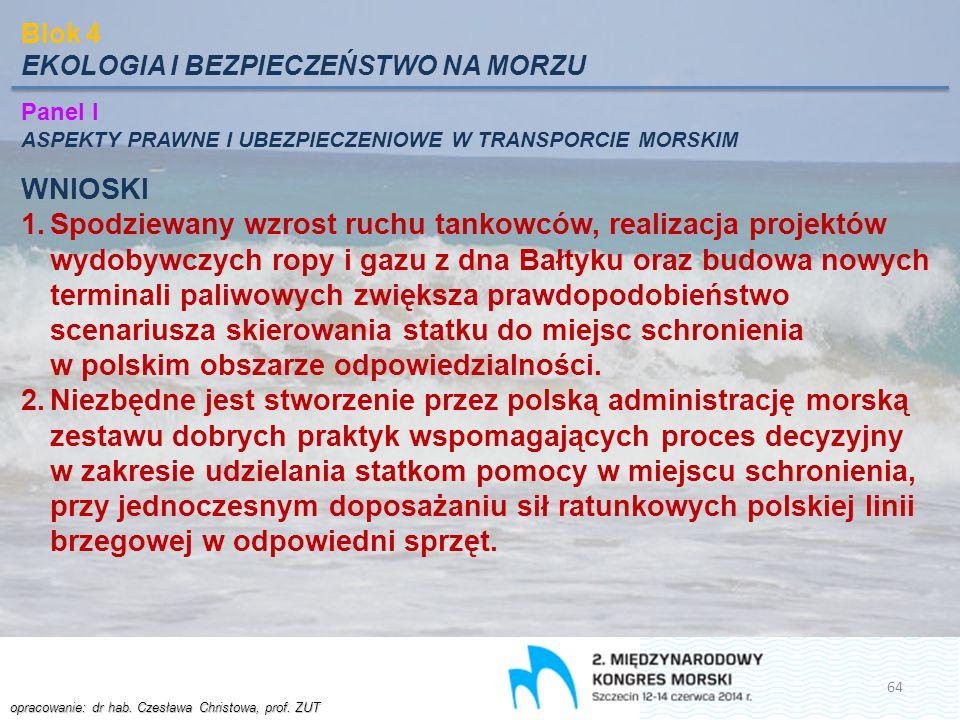 opracowanie: dr hab. Czesława Christowa, prof. ZUT Blok 4 EKOLOGIA I BEZPIECZEŃSTWO NA MORZU Panel I ASPEKTY PRAWNE I UBEZPIECZENIOWE W TRANSPORCIE MO