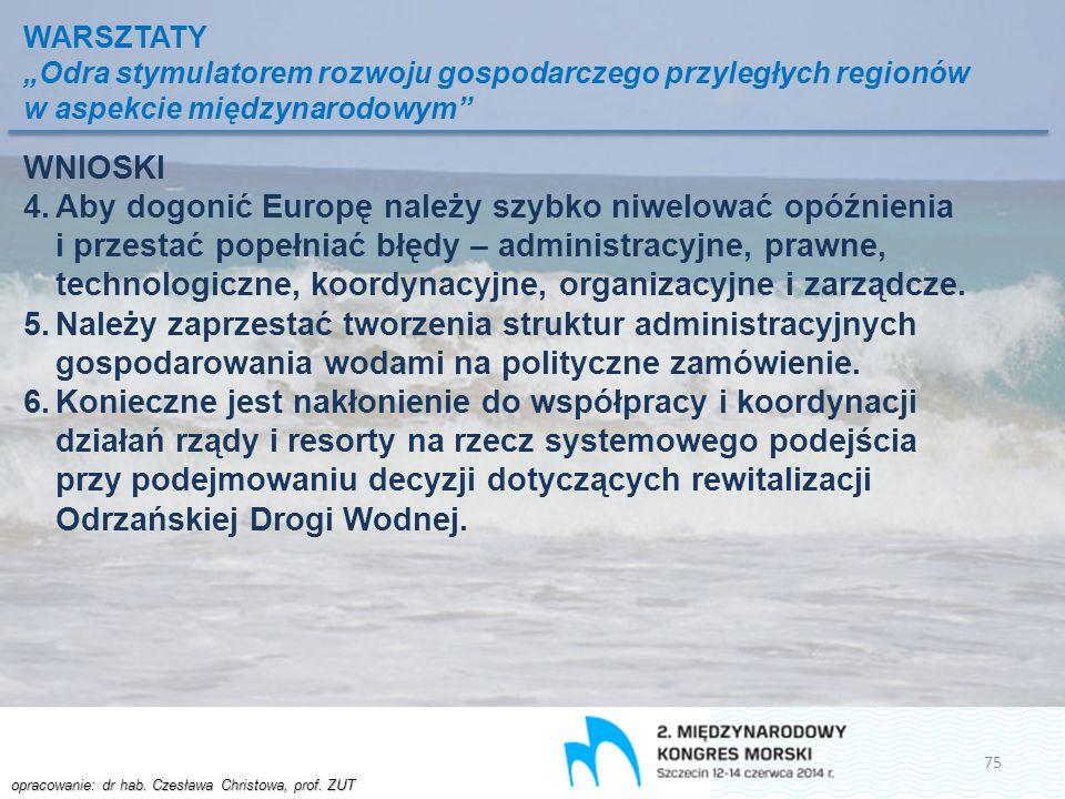 """opracowanie: dr hab. Czesława Christowa, prof. ZUT WARSZTATY """"Odra stymulatorem rozwoju gospodarczego przyległych regionów w aspekcie międzynarodowym"""""""