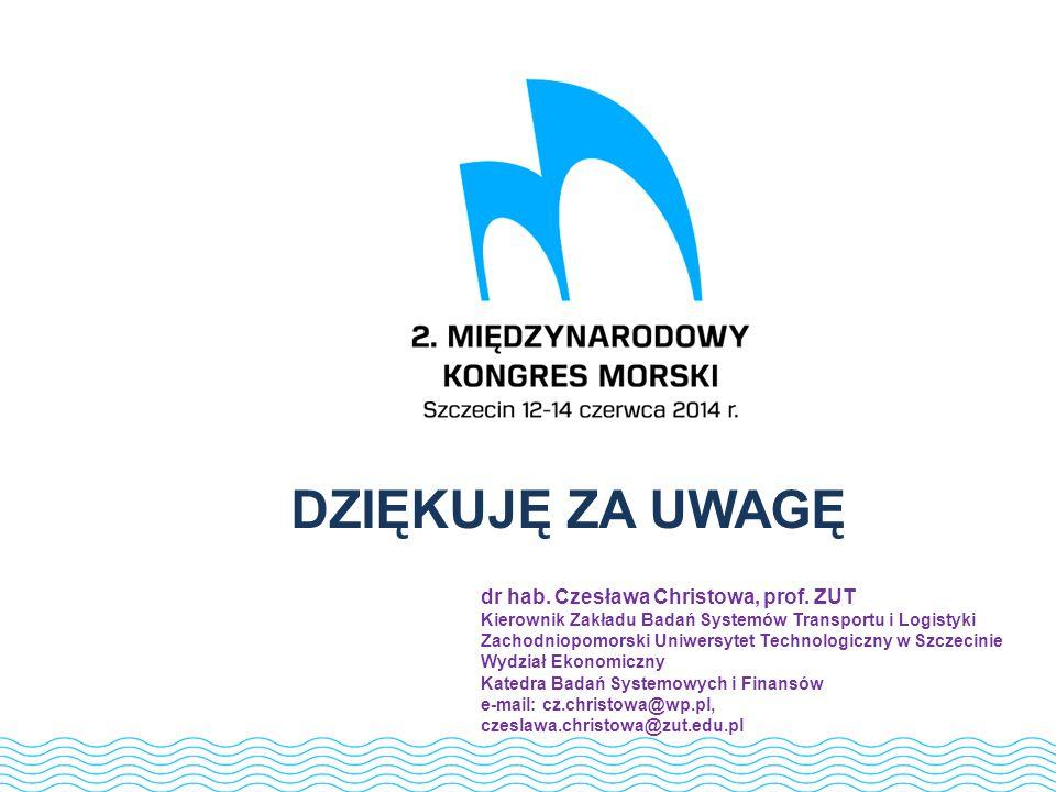81 DZIĘKUJĘ ZA UWAGĘ dr hab. Czesława Christowa, prof. ZUT Kierownik Zakładu Badań Systemów Transportu i Logistyki Zachodniopomorski Uniwersytet Techn