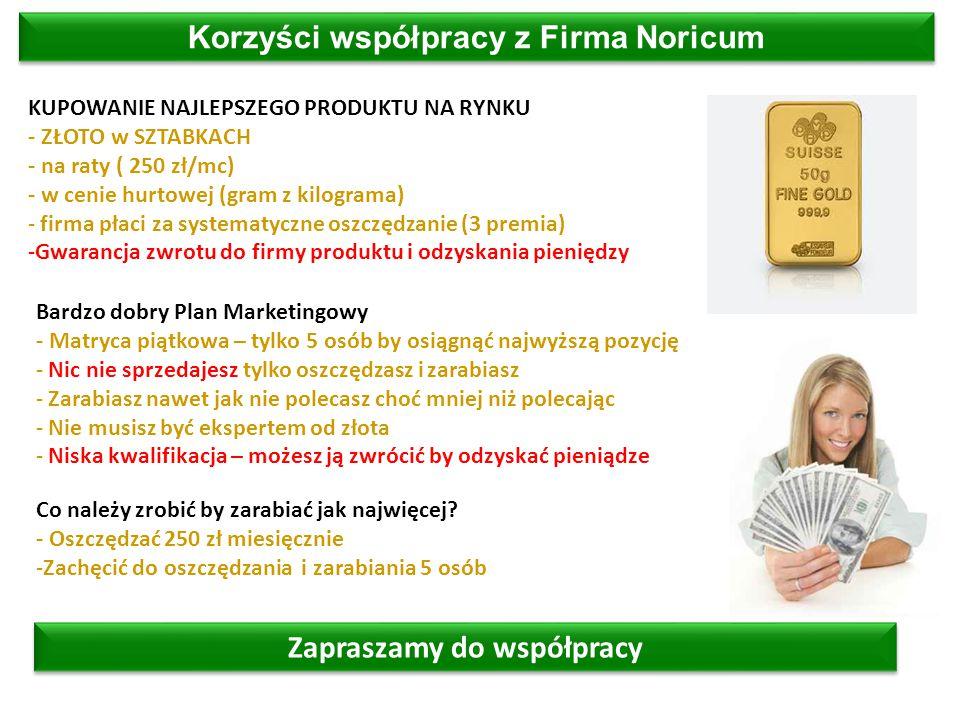 Zapraszamy do współpracy Korzyści współpracy z Firma Noricum KUPOWANIE NAJLEPSZEGO PRODUKTU NA RYNKU - ZŁOTO w SZTABKACH - na raty ( 250 zł/mc) - w cenie hurtowej (gram z kilograma) - firma płaci za systematyczne oszczędzanie (3 premia) -Gwarancja zwrotu do firmy produktu i odzyskania pieniędzy Bardzo dobry Plan Marketingowy - Matryca piątkowa – tylko 5 osób by osiągnąć najwyższą pozycję - Nic nie sprzedajesz tylko oszczędzasz i zarabiasz - Zarabiasz nawet jak nie polecasz choć mniej niż polecając - Nie musisz być ekspertem od złota - Niska kwalifikacja – możesz ją zwrócić by odzyskać pieniądze Co należy zrobić by zarabiać jak najwięcej.
