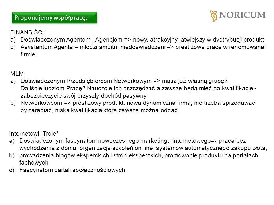 Proponujemy współpracę: FINANSIŚCI: a)Doświadczonym Agentom, Agencjom => nowy, atrakcyjny łatwiejszy w dystrybucji produkt b)Asystentom Agenta – młodzi ambitni niedoświadczeni => prestiżową pracę w renomowanej firmie MLM: a)Doświadczonym Przedsiębiorcom Networkowym => masz już własną grupę.