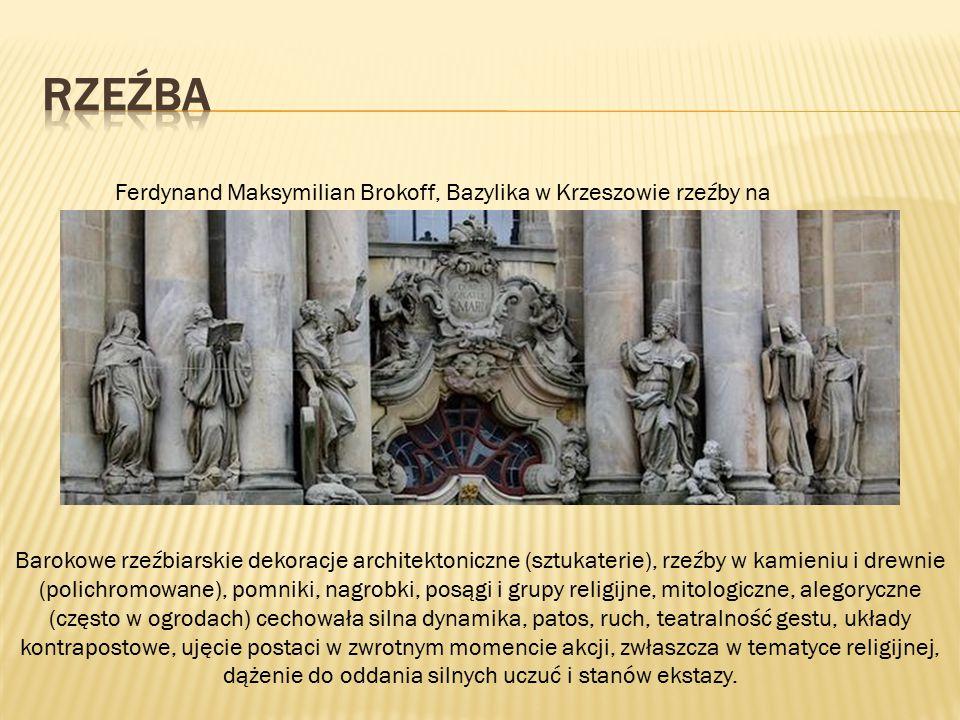 Barokowe rzeźbiarskie dekoracje architektoniczne (sztukaterie), rzeźby w kamieniu i drewnie (polichromowane), pomniki, nagrobki, posągi i grupy religi