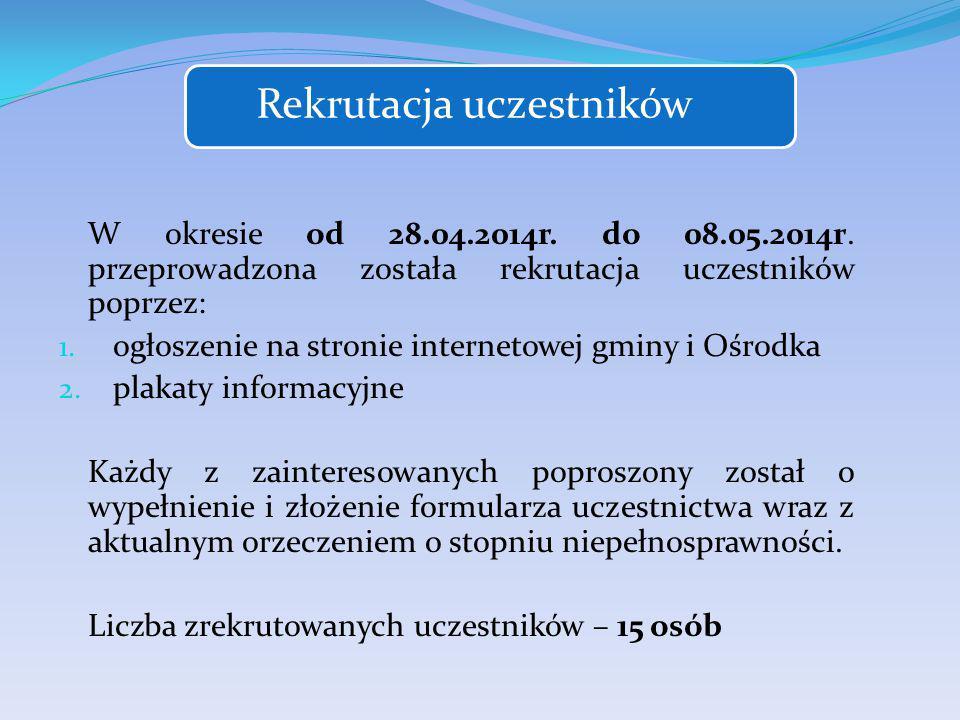 Rekrutacja uczestników W okresie od 28.04.2014r. do 08.05.2014r.