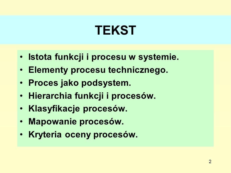 2 TEKST Istota funkcji i procesu w systemie. Elementy procesu technicznego. Proces jako podsystem. Hierarchia funkcji i procesów. Klasyfikacje procesó