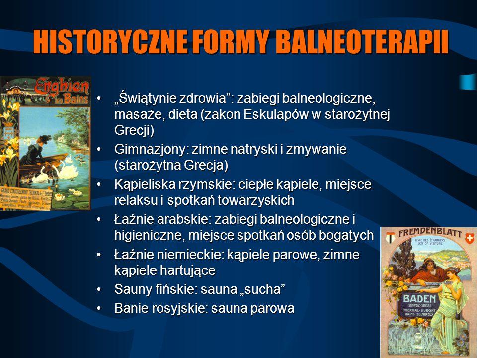 """HISTORYCZNE FORMY BALNEOTERAPII """"Świątynie zdrowia"""": zabiegi balneologiczne, masaże, dieta (zakon Eskulapów w starożytnej Grecji)""""Świątynie zdrowia"""":"""