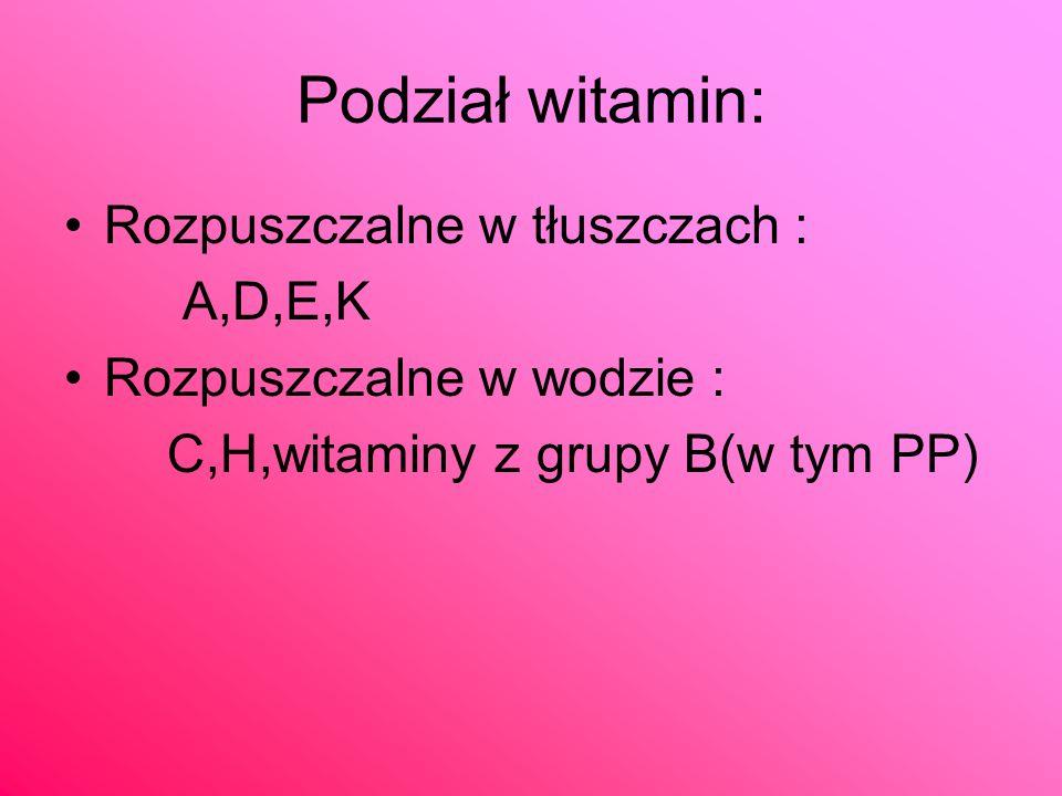 Podział witamin: Rozpuszczalne w tłuszczach : A,D,E,K Rozpuszczalne w wodzie : C,H,witaminy z grupy B(w tym PP)