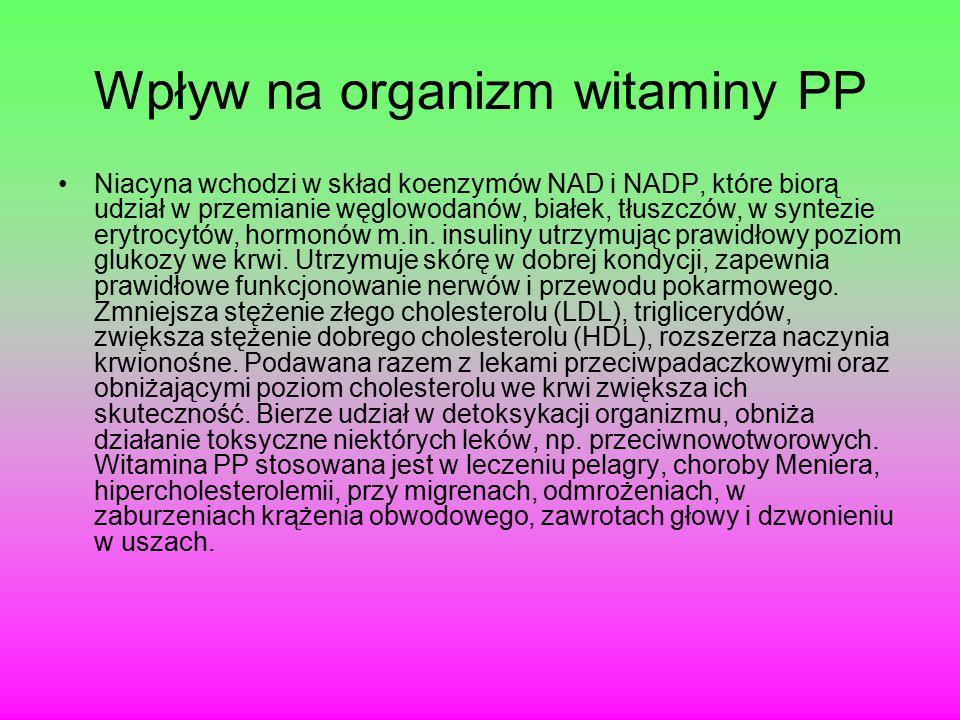 Wpływ na organizm witaminy PP Niacyna wchodzi w skład koenzymów NAD i NADP, które biorą udział w przemianie węglowodanów, białek, tłuszczów, w syntezie erytrocytów, hormonów m.in.
