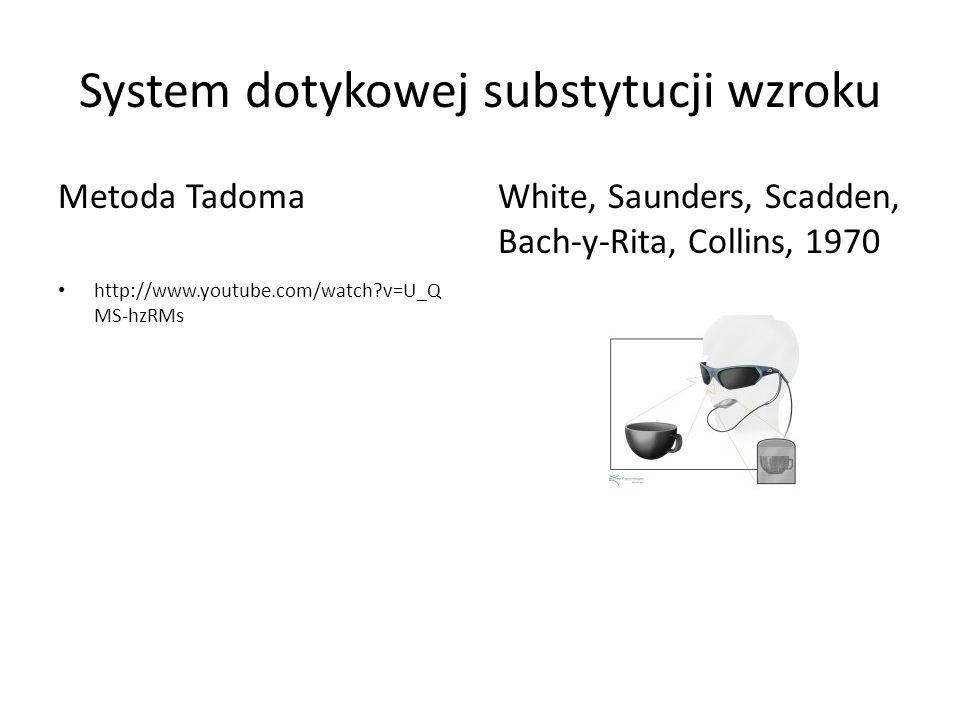 System dotykowej substytucji wzroku Metoda Tadoma http://www.youtube.com/watch?v=U_Q MS-hzRMs White, Saunders, Scadden, Bach-y-Rita, Collins, 1970