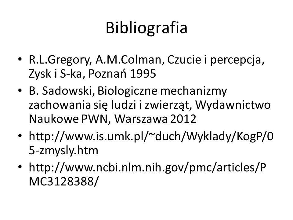 Bibliografia R.L.Gregory, A.M.Colman, Czucie i percepcja, Zysk i S-ka, Poznań 1995 B. Sadowski, Biologiczne mechanizmy zachowania się ludzi i zwierząt