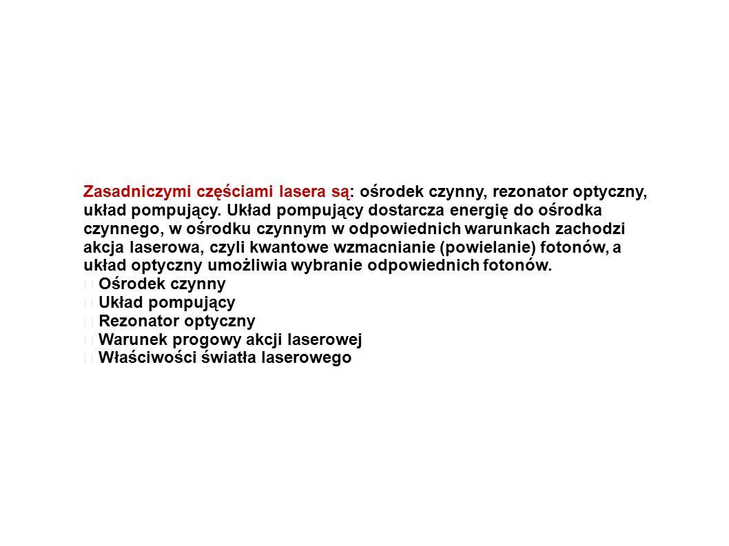 Zasadniczymi częściami lasera są: ośrodek czynny, rezonator optyczny, układ pompujący.