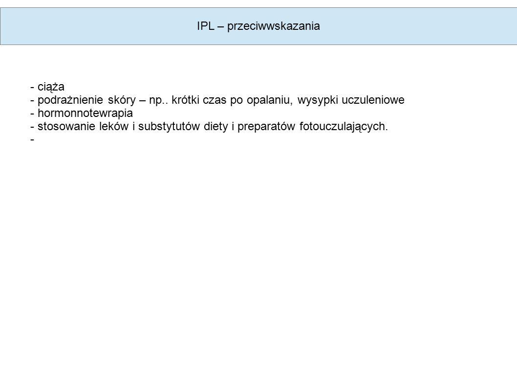 IPL – przeciwwskazania - ciąża - podrażnienie skóry – np..