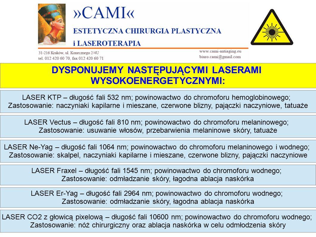 DYSPONUJEMY NASTĘPUJĄCYMI LASERAMI WYSOKOENERGETYCZNYMI: LASER KTP – długość fali 532 nm; powinowactwo do chromoforu hemoglobinowego; Zastosowanie: naczyniaki kapilarne i mieszane, czerwone blizny, pajączki naczyniowe, tatuaże LASER Ne-Yag – długość fali 1064 nm; powinowactwo do chromoforu melaninowego i wodnego; Zastosowanie: skalpel, naczyniaki kapilarne i mieszane, czerwone blizny, pajączki naczyniowe LASER Fraxel – długość fali 1545 nm; powinowactwo do chromoforu wodnego; Zastosowanie: odmładzanie skóry, łagodna ablacja naskórka LASER Er-Yag – długość fali 2964 nm; powinowactwo do chromoforu wodnego; Zastosowanie: odmładzanie skóry, łagodna ablacja naskórka LASER Vectus – długość fali 810 nm; powinowactwo do chromoforu melaninowego; Zastosowanie: usuwanie włosów, przebarwienia melaninowe skóry, tatuaże LASER CO2 z głowicą pixelową – długość fali 10600 nm; powinowactwo do chromoforu wodnego; Zastosowanie: nóż chirurgiczny oraz ablacja naskórka w celu odmłodzenia skóry