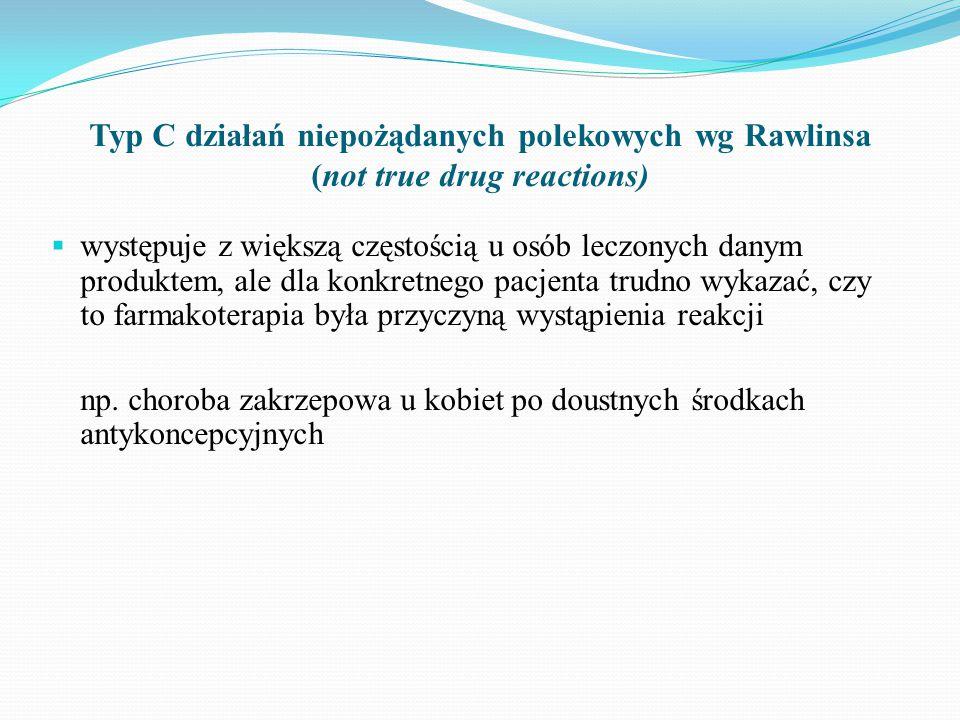 Typ C działań niepożądanych polekowych wg Rawlinsa (not true drug reactions)  występuje z większą częstością u osób leczonych danym produktem, ale dla konkretnego pacjenta trudno wykazać, czy to farmakoterapia była przyczyną wystąpienia reakcji np.