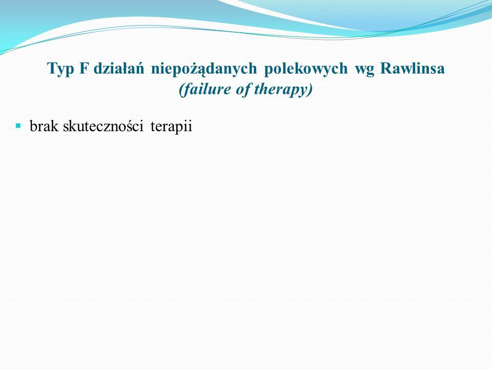 Typ F działań niepożądanych polekowych wg Rawlinsa (failure of therapy)  brak skuteczności terapii