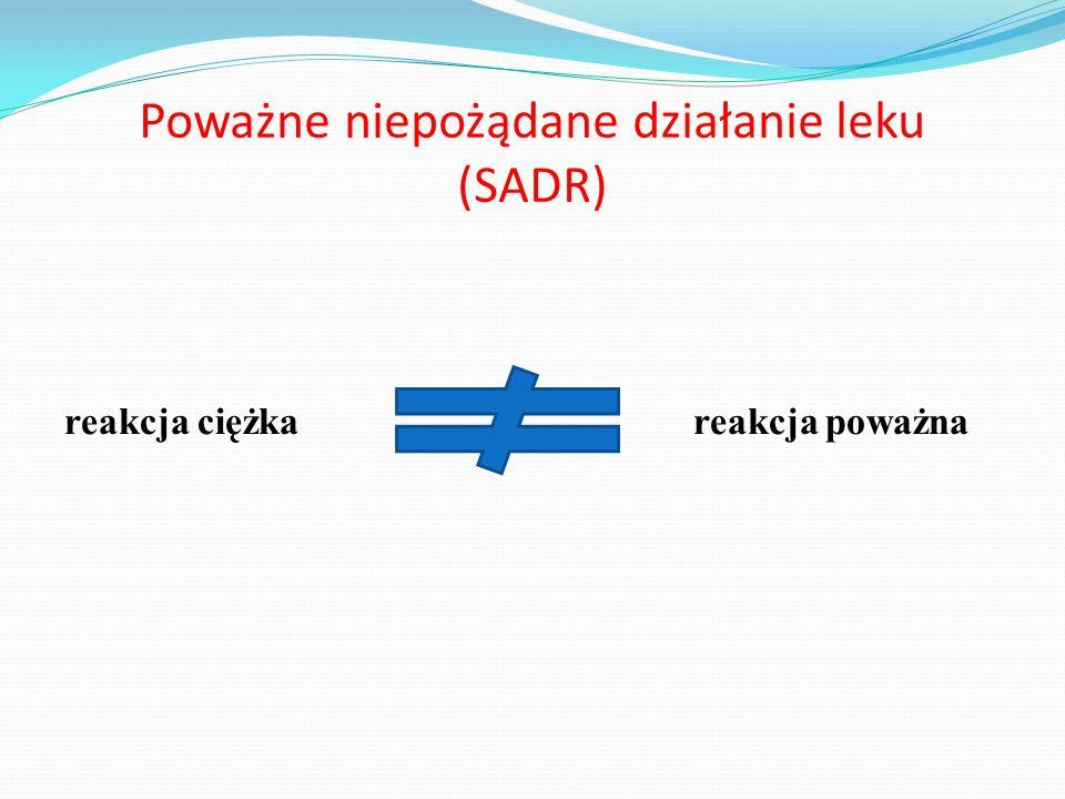 Poważne niepożądane działanie leku (SADR) reakcja ciężka reakcja poważna