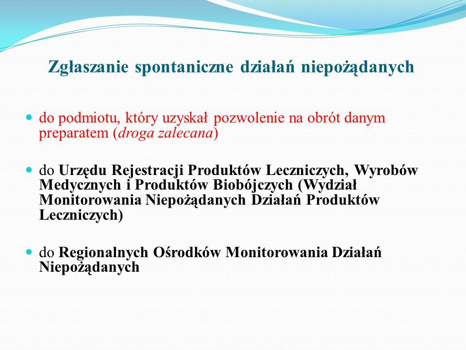 Zgłaszanie spontaniczne działań niepożądanych do podmiotu, który uzyskał pozwolenie na obrót danym preparatem (droga zalecana) do Urzędu Rejestracji Produktów Leczniczych, Wyrobów Medycznych i Produktów Biobójczych (Wydział Monitorowania Niepożądanych Działań Produktów Leczniczych) do Regionalnych Ośrodków Monitorowania Działań Niepożądanych