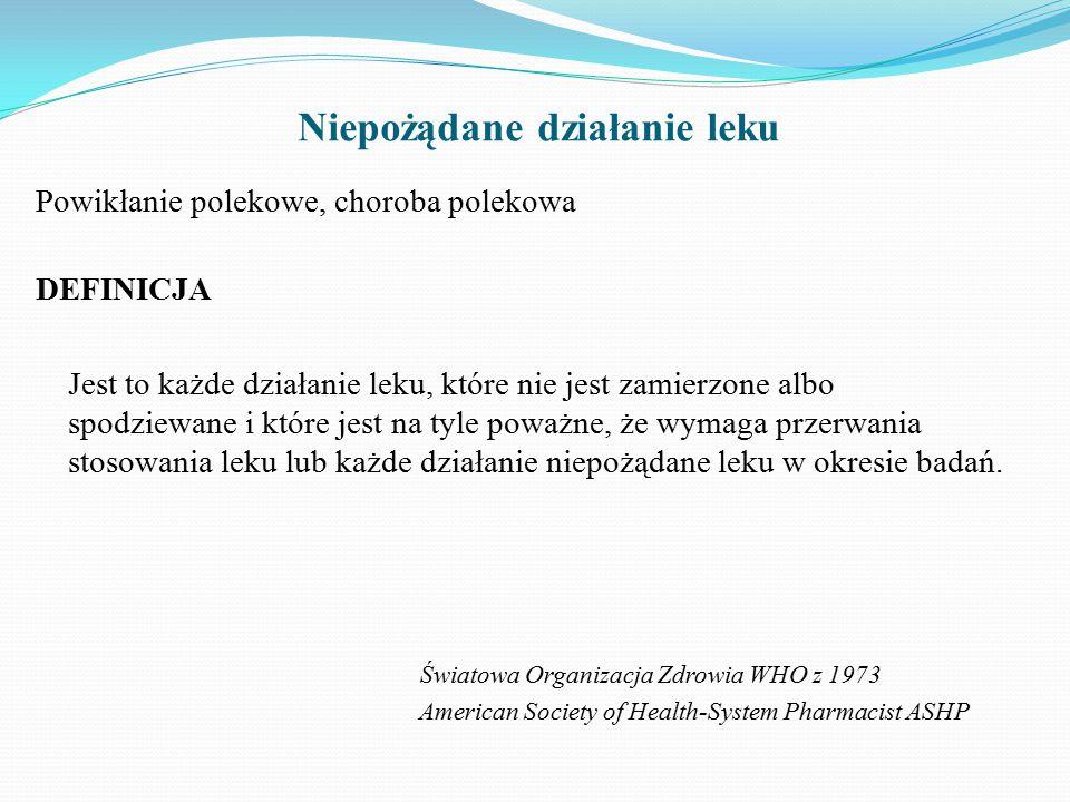 Ciężka reakcja niepożądana zgon pacjenta zagrożenie życia konieczność hospitalizacji lub jej przedłużenie trwały lub znaczny uszczerbek na zdrowiu wady rozwojowe płodu inne, które lekarz według swojego stanu wiedzy uzna za ciężkie Konieczność zgłaszania w ciągu 15 dni kalendarzowych!!!