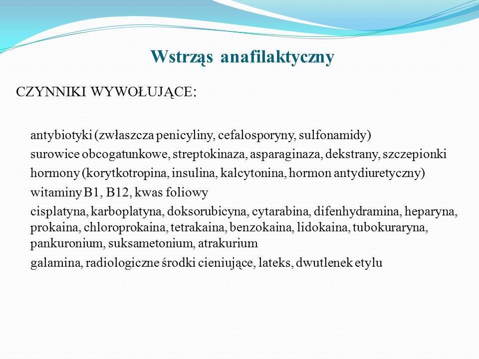 Wstrząs anafilaktyczny CZYNNIKI WYWOŁUJĄCE : antybiotyki (zwłaszcza penicyliny, cefalosporyny, sulfonamidy) surowice obcogatunkowe, streptokinaza, asparaginaza, dekstrany, szczepionki hormony (korytkotropina, insulina, kalcytonina, hormon antydiuretyczny) witaminy B1, B12, kwas foliowy cisplatyna, karboplatyna, doksorubicyna, cytarabina, difenhydramina, heparyna, prokaina, chloroprokaina, tetrakaina, benzokaina, lidokaina, tubokuraryna, pankuronium, suksametonium, atrakurium galamina, radiologiczne środki cieniujące, lateks, dwutlenek etylu
