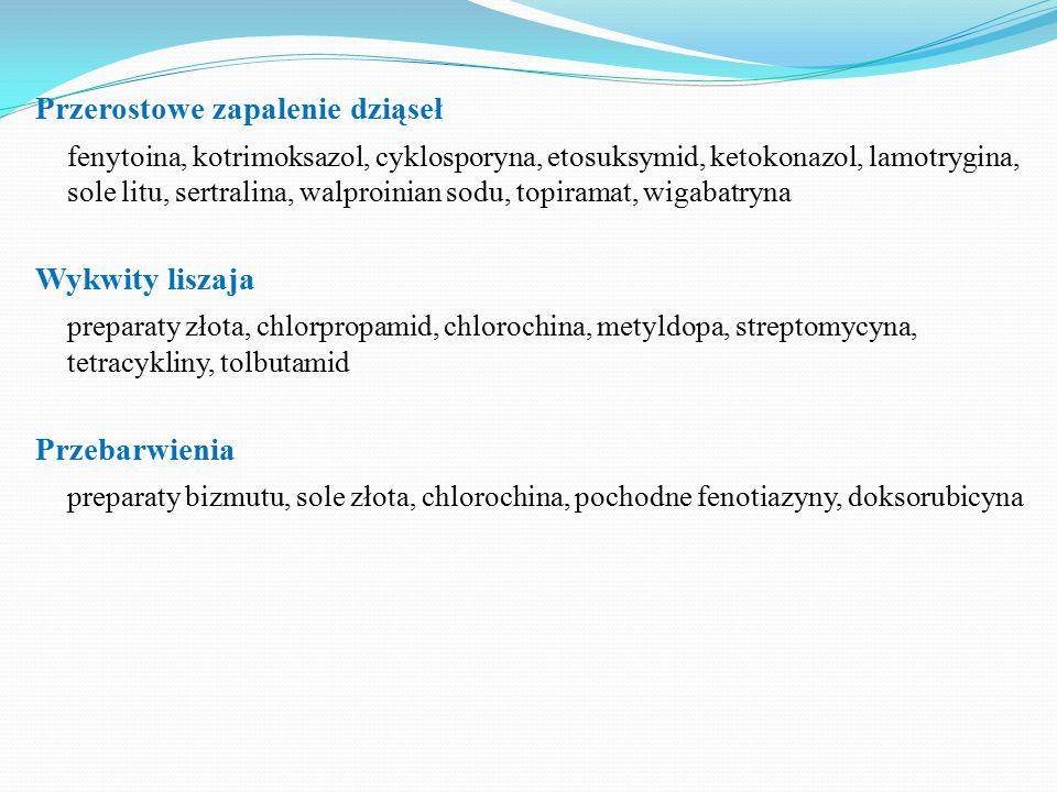 Przerostowe zapalenie dziąseł fenytoina, kotrimoksazol, cyklosporyna, etosuksymid, ketokonazol, lamotrygina, sole litu, sertralina, walproinian sodu, topiramat, wigabatryna Wykwity liszaja preparaty złota, chlorpropamid, chlorochina, metyldopa, streptomycyna, tetracykliny, tolbutamid Przebarwienia preparaty bizmutu, sole złota, chlorochina, pochodne fenotiazyny, doksorubicyna