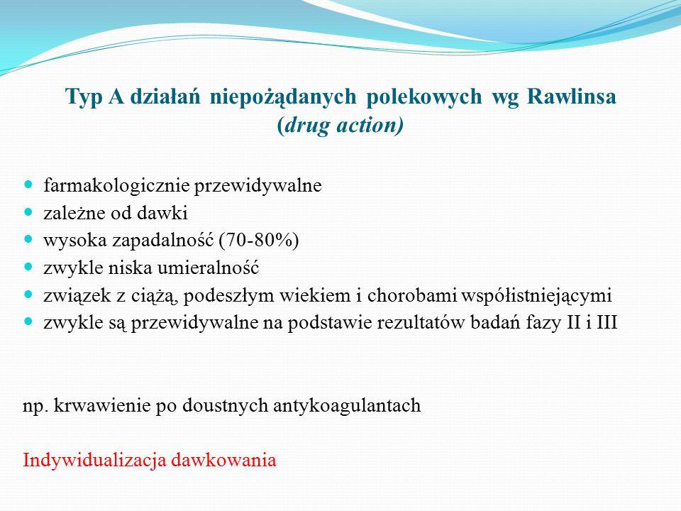Typ A działań niepożądanych polekowych wg Rawlinsa (drug action) farmakologicznie przewidywalne zależne od dawki wysoka zapadalność (70-80%) zwykle niska umieralność związek z ciążą, podeszłym wiekiem i chorobami współistniejącymi zwykle są przewidywalne na podstawie rezultatów badań fazy II i III np.