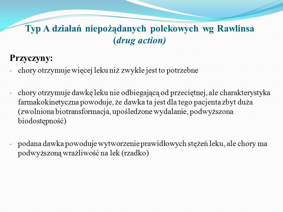 Typ A działań niepożądanych polekowych wg Rawlinsa (drug action) Przyczyny: - chory otrzymuje więcej leku niż zwykle jest to potrzebne - chory otrzymuje dawkę leku nie odbiegającą od przeciętnej, ale charakterystyka farmakokinetyczna powoduje, że dawka ta jest dla tego pacjenta zbyt duża (zwolniona biotransformacja, upośledzone wydalanie, podwyższona biodostępność) - podana dawka powoduje wytworzenie prawidłowych stężeń leku, ale chory ma podwyższoną wrażliwość na lek (rzadko)