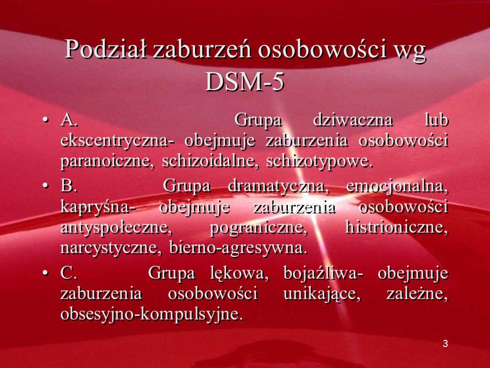 2 Definicja zaburzeń osobowości – oś II. wg DSM IV Przewlekle trwający wzorzec patologicznych zachowań i/lub przeżywania manifestujący się w zakresieP