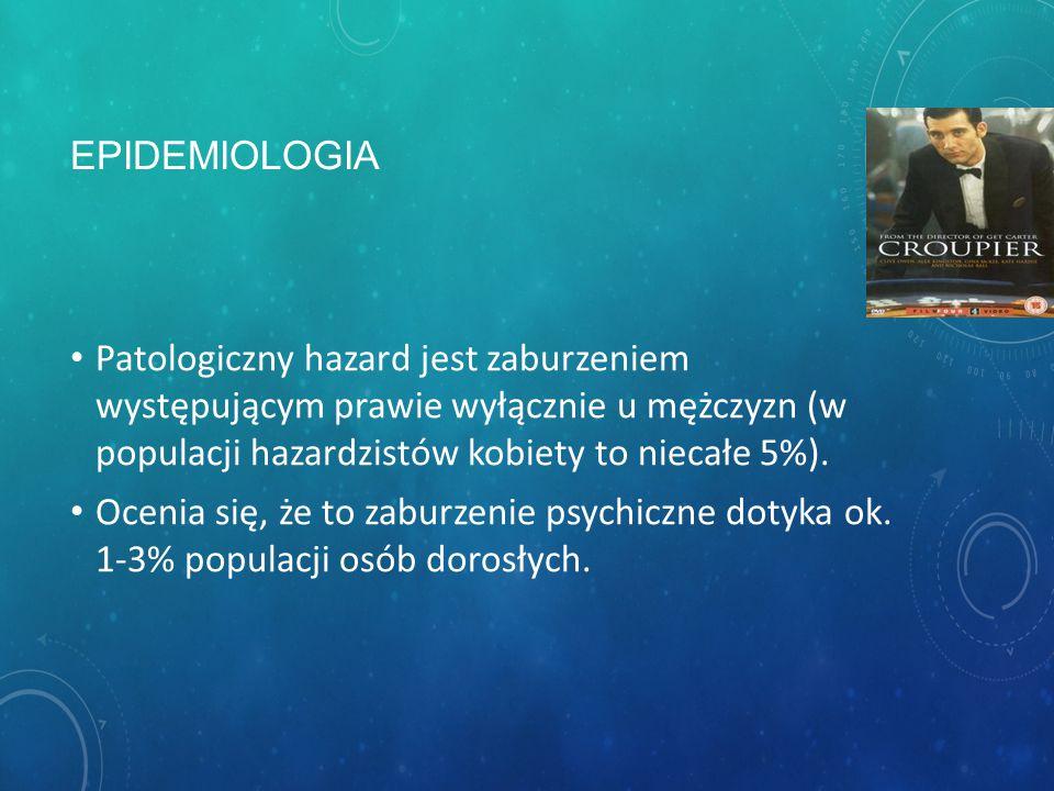 PATOLOGICZNY HAZARD (F.63.0) istotną cechą tego zaburzenia dysfunkcyjny hazard charakteryzujący się m.in.: zogniskowaniem aktywności codziennej na gra
