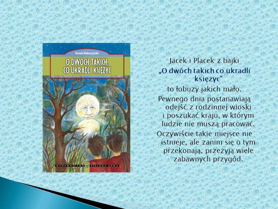 """Jacek i Placek z bajki """"O dwóch takich co ukradli księżyc"""" to łobuzy jakich mało. Pewnego dnia postanawiają odejść z rodzinnej wioski i poszukać kraju"""