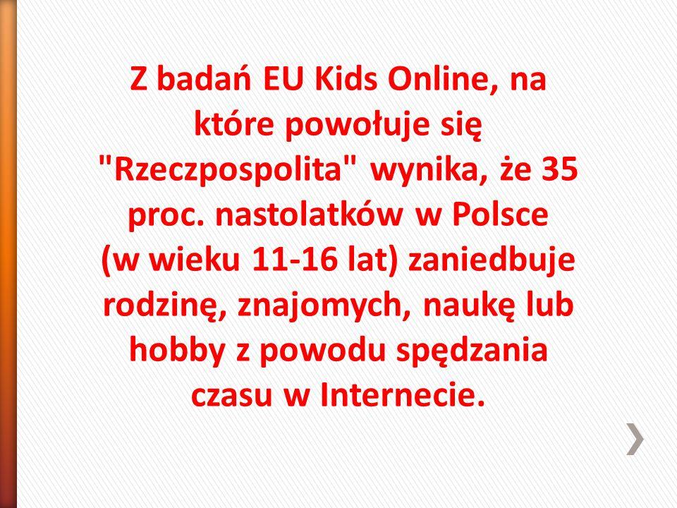 Z badań EU Kids Online, na które powołuje się Rzeczpospolita wynika, że 35 proc.