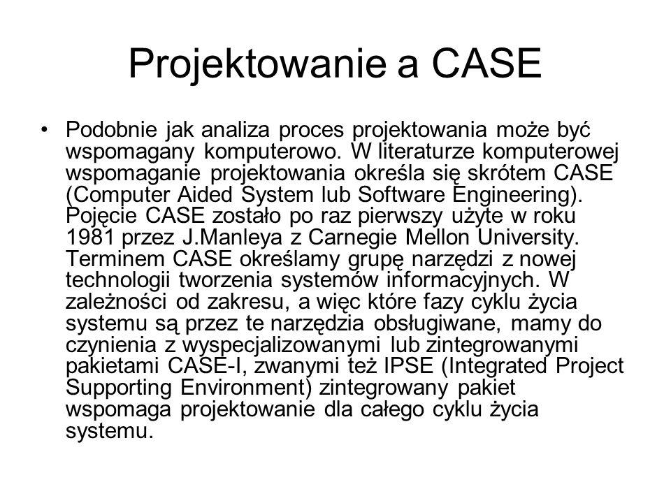 Projektowanie a CASE Podobnie jak analiza proces projektowania może być wspomagany komputerowo. W literaturze komputerowej wspomaganie projektowania o