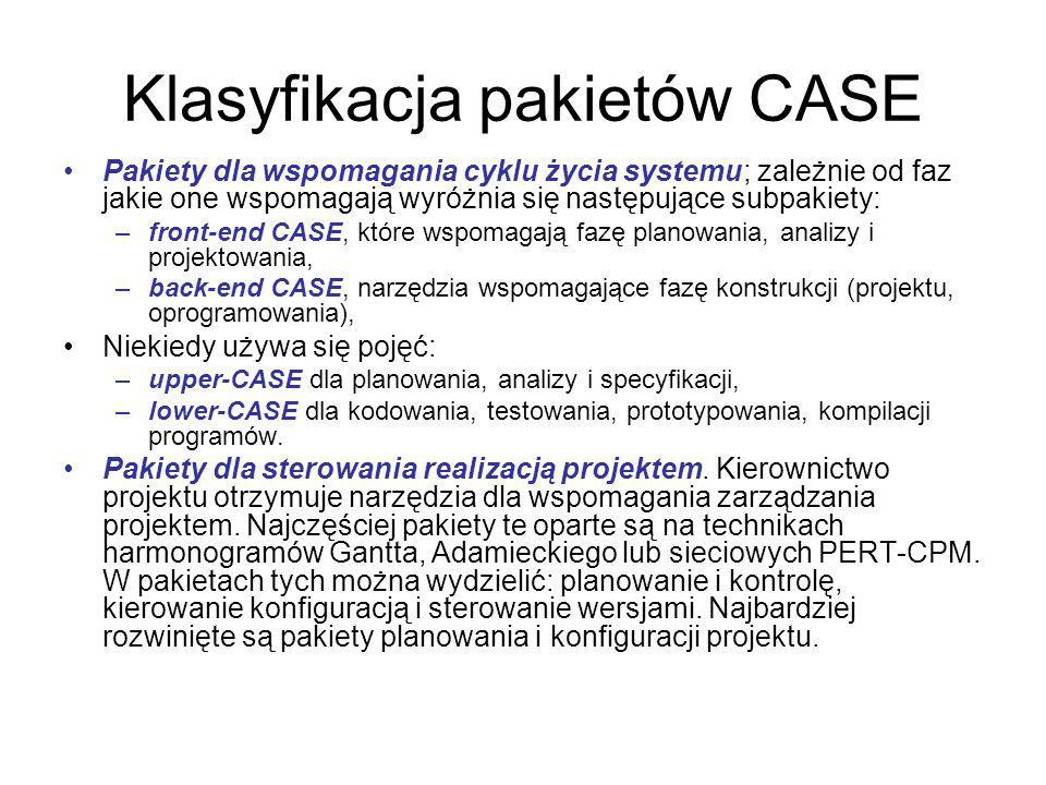 Klasyfikacja pakietów CASE Pakiety dla wspomagania cyklu życia systemu; zależnie od faz jakie one wspomagają wyróżnia się następujące subpakiety: –front-end CASE, które wspomagają fazę planowania, analizy i projektowania, –back-end CASE, narzędzia wspomagające fazę konstrukcji (projektu, oprogramowania), Niekiedy używa się pojęć: –upper-CASE dla planowania, analizy i specyfikacji, –lower-CASE dla kodowania, testowania, prototypowania, kompilacji programów.