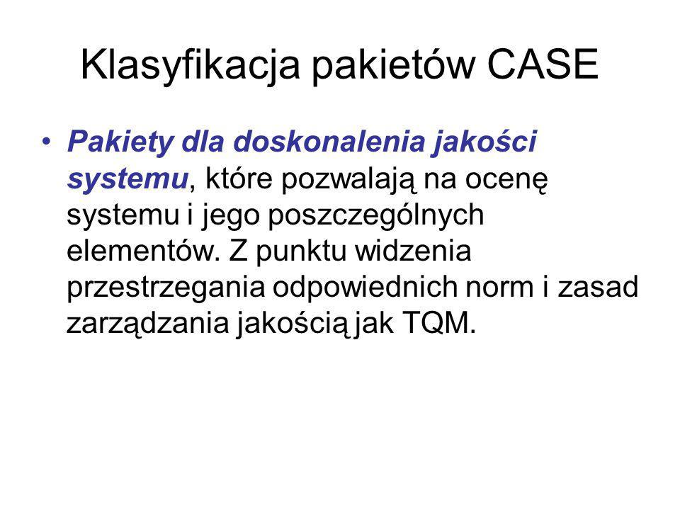 Klasyfikacja pakietów CASE Pakiety dla doskonalenia jakości systemu, które pozwalają na ocenę systemu i jego poszczególnych elementów.
