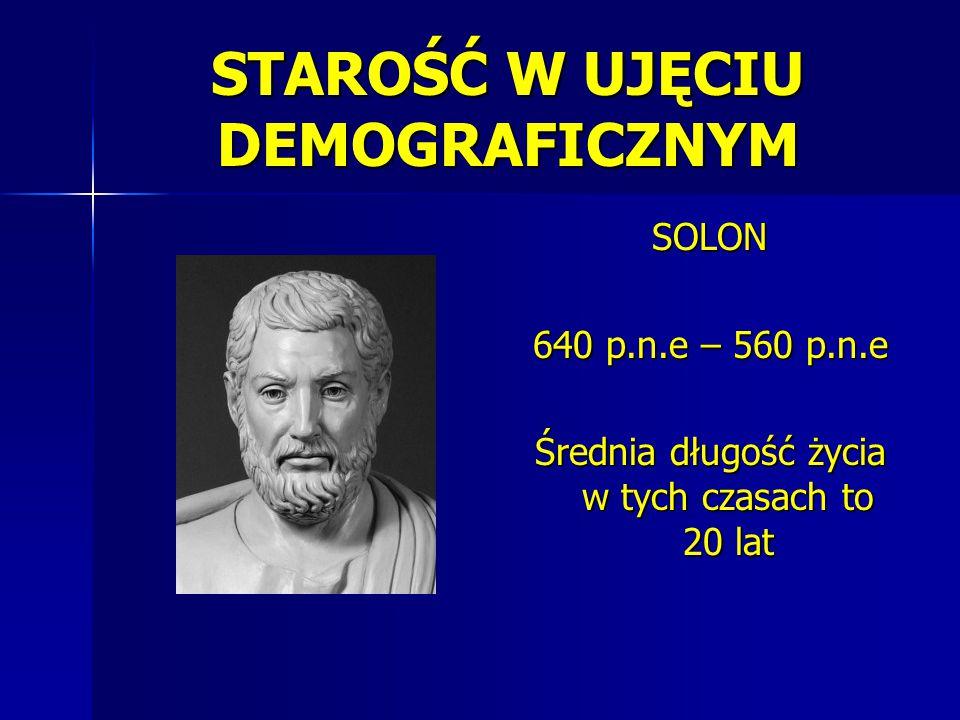 STAROŚĆ W UJĘCIU DEMOGRAFICZNYM SOLON 640 p.n.e – 560 p.n.e Średnia długość życia w tych czasach to 20 lat