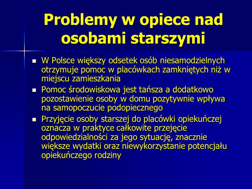 Problemy w opiece nad osobami starszymi W Polsce większy odsetek osób niesamodzielnych otrzymuje pomoc w placówkach zamkniętych niż w miejscu zamieszk