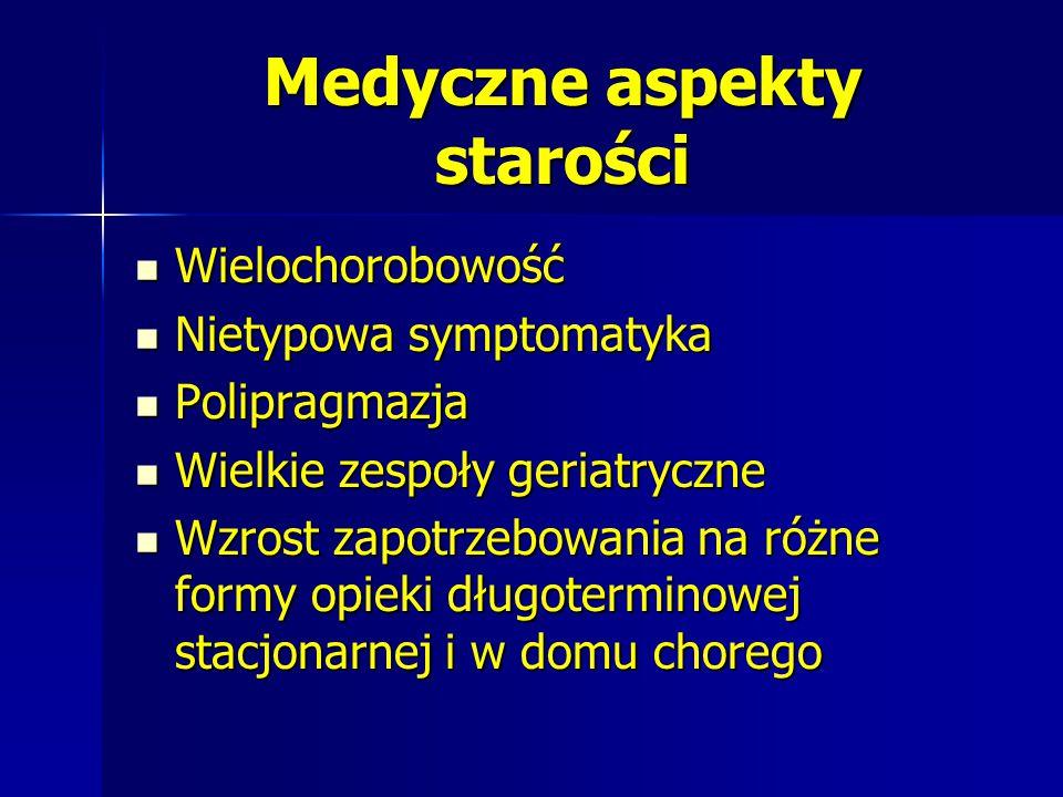 Medyczne aspekty starości Wielochorobowość Wielochorobowość Nietypowa symptomatyka Nietypowa symptomatyka Polipragmazja Polipragmazja Wielkie zespoły
