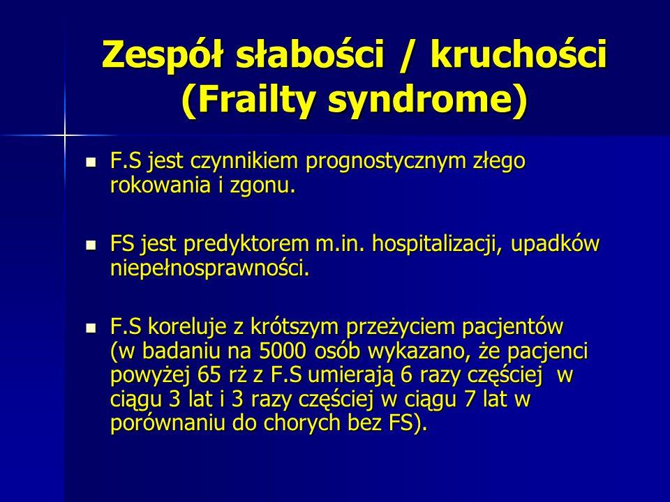 Zespół słabości / kruchości (Frailty syndrome) F.S jest czynnikiem prognostycznym złego rokowania i zgonu. F.S jest czynnikiem prognostycznym złego ro