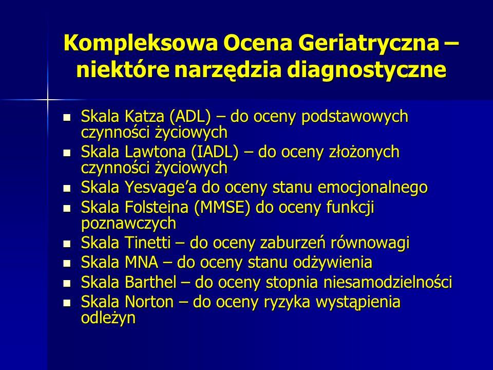 Kompleksowa Ocena Geriatryczna – niektóre narzędzia diagnostyczne Skala Katza (ADL) – do oceny podstawowych czynności życiowych Skala Katza (ADL) – do