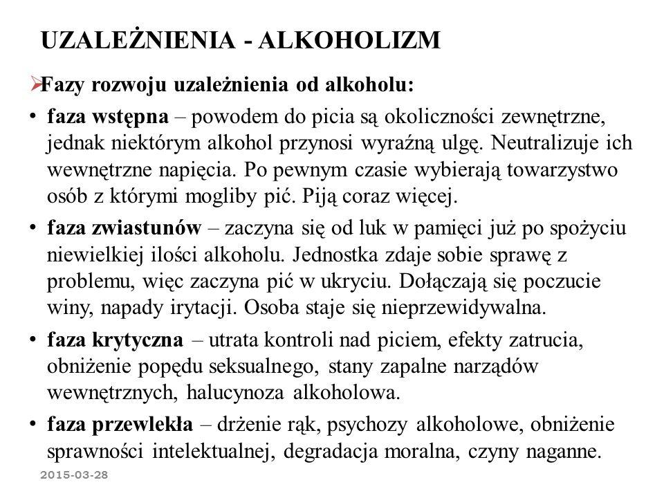 UZALEŻNIENIA - ALKOHOLIZM 2015-03-28  Fazy rozwoju uzależnienia od alkoholu: faza wstępna – powodem do picia są okoliczności zewnętrzne, jednak niekt