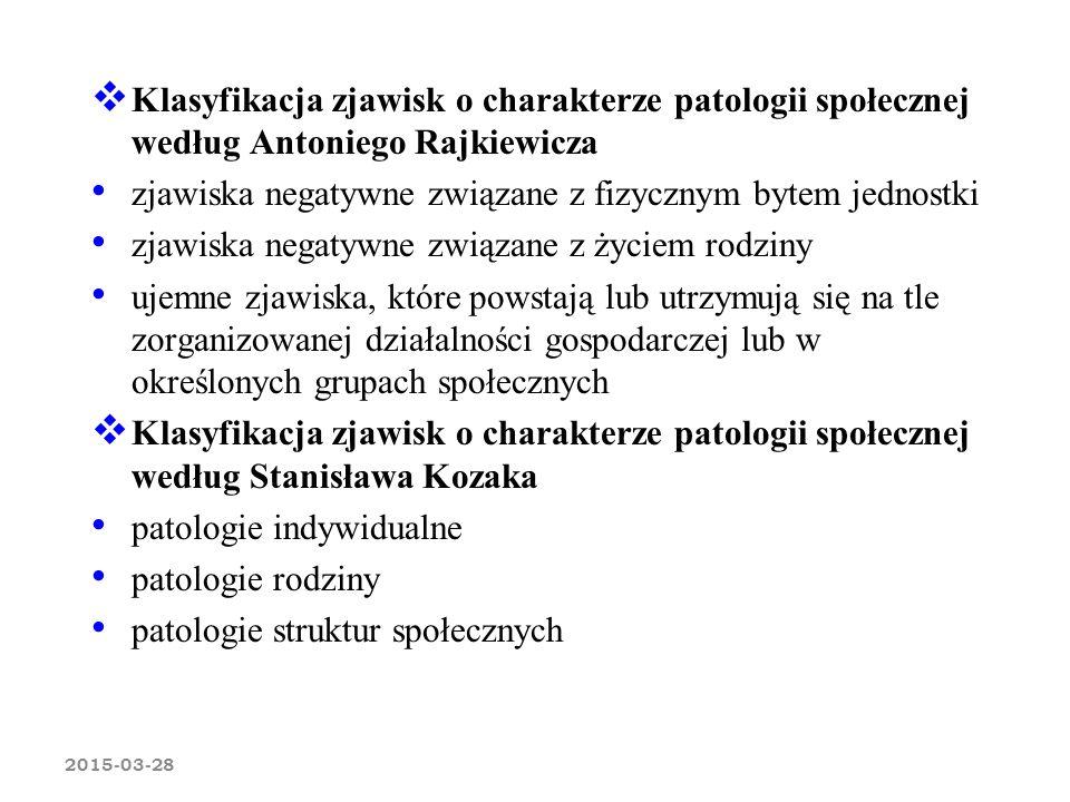 2015-03-28  Klasyfikacja zjawisk o charakterze patologii społecznej według Antoniego Rajkiewicza zjawiska negatywne związane z fizycznym bytem jednos