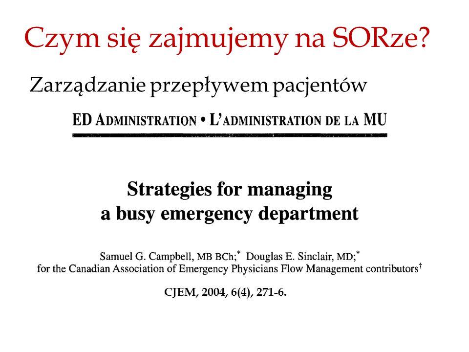 Czym się zajmujemy na SORze? Zarządzanie przepływem pacjentów CJEM, 2004, 6(4), 271-6.