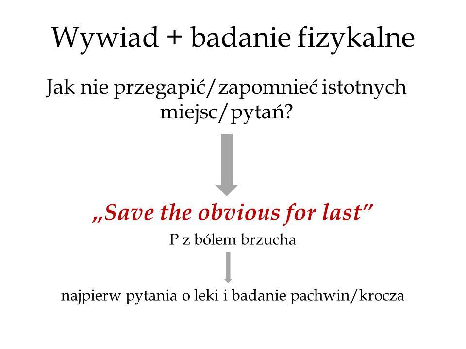 """Wywiad + badanie fizykalne """"Save the obvious for last P z bólem brzucha najpierw pytania o leki i badanie pachwin/krocza Jak nie przegapić/zapomnieć istotnych miejsc/pytań?"""