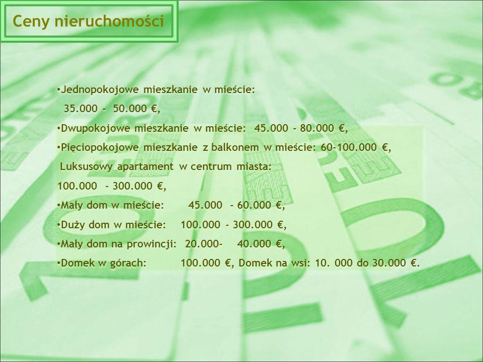 Jednopokojowe mieszkanie w mieście: 35.000 - 50.000 €, Dwupokojowe mieszkanie w mieście: 45.000 - 80.000 €, Pięciopokojowe mieszkanie z balkonem w mieście: 60-100.000 €, Luksusowy apartament w centrum miasta: 100.000 - 300.000 €, Mały dom w mieście: 45.000 - 60.000 €, Duży dom w mieście: 100.000 - 300.000 €, Mały dom na prowincji: 20.000- 40.000 €, Domek w górach: 100.000 €, Domek na wsi: 10.