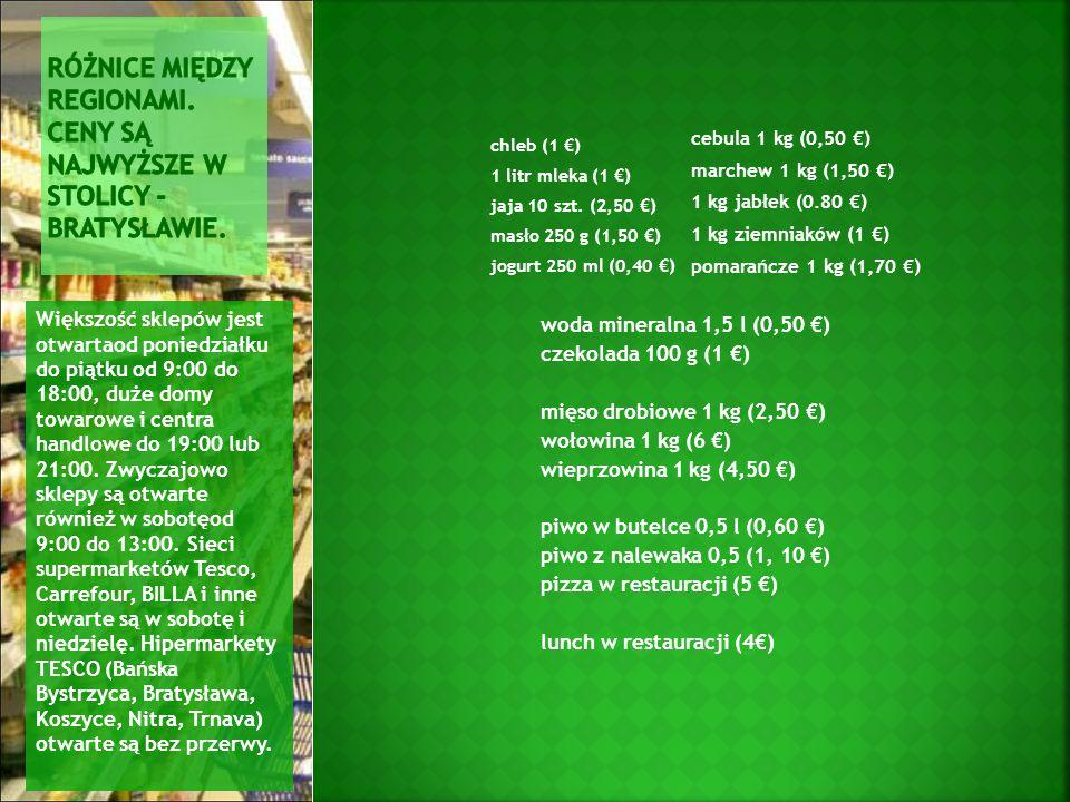 chleb (1 €) 1 litr mleka (1 €) jaja 10 szt.
