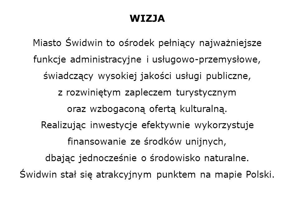 WIZJA Miasto Świdwin to ośrodek pełniący najważniejsze funkcje administracyjne i usługowo-przemysłowe, świadczący wysokiej jakości usługi publiczne, z