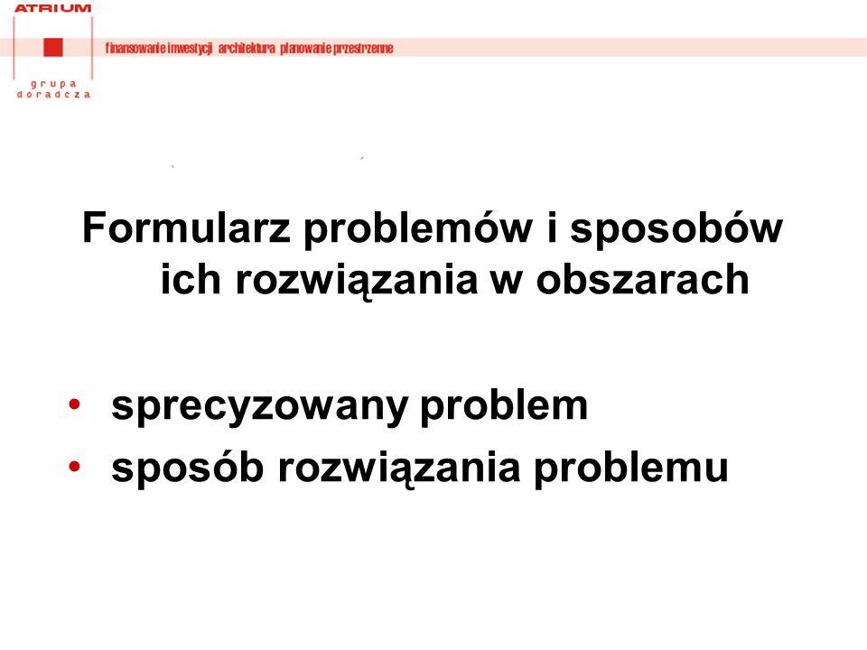 Formularz problemów i sposobów ich rozwiązania w obszarach sprecyzowany problem sposób rozwiązania problemu
